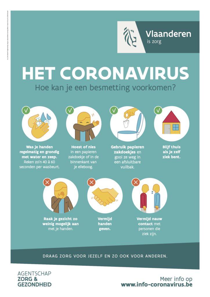 Affiche coronavirus voorzorgsmaatregelen